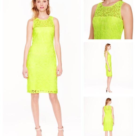 J.CREW Collection Sheath Dress Lace Neon Yellow